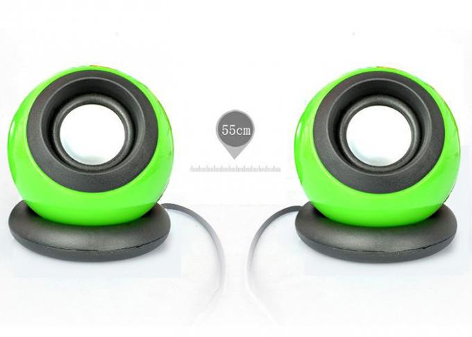 Multi Function USB Small Computer Speakers 2.0 Green Color 110*90*90mm