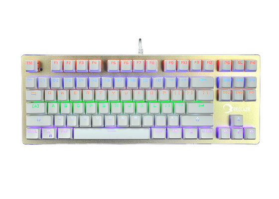 RGB Membrane Keyboard 87 Keys , Silent Mechanical Keyboard With Programmable Keys