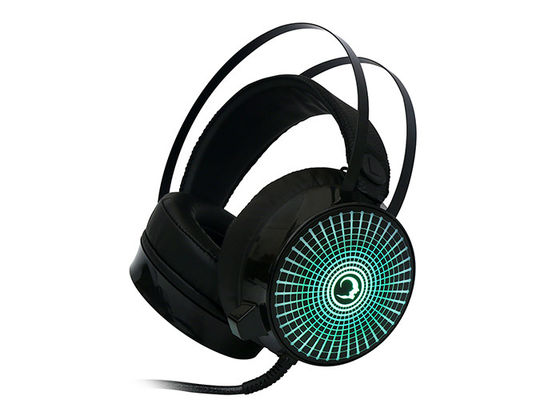 Illuminated 7.1 Surround Sound Headphones With Mic For Pc , Black
